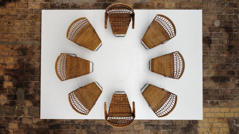 Mid-Century Modern 8 Sculptural Form 'Oro' Dining Chairs by Raoul Guys, 1951, Airborne, France For Sale