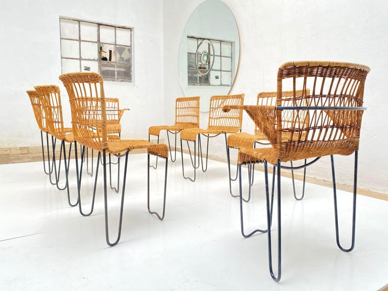 Enameled 8 Sculptural Form 'Oro' Dining Chairs by Raoul Guys, 1951, Airborne, France For Sale