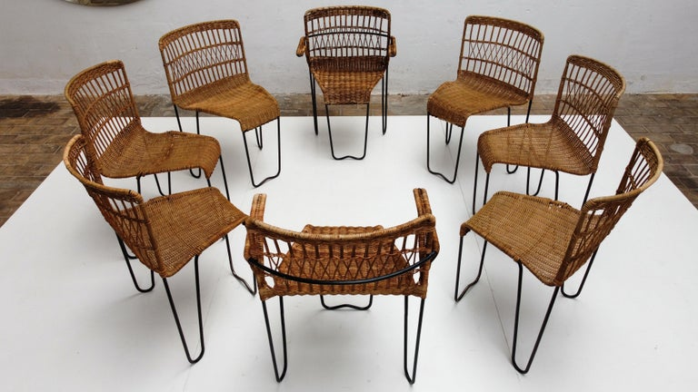 8 Sculptural Form 'Oro' Dining Chairs by Raoul Guys, 1951, Airborne, France For Sale 1