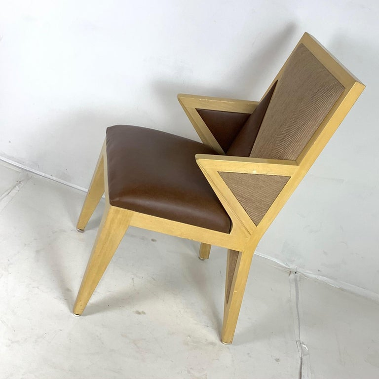8 Solid Blonde Wood Custom Postmodern Memphis Style Dining or Occasional Chairs For Sale 7