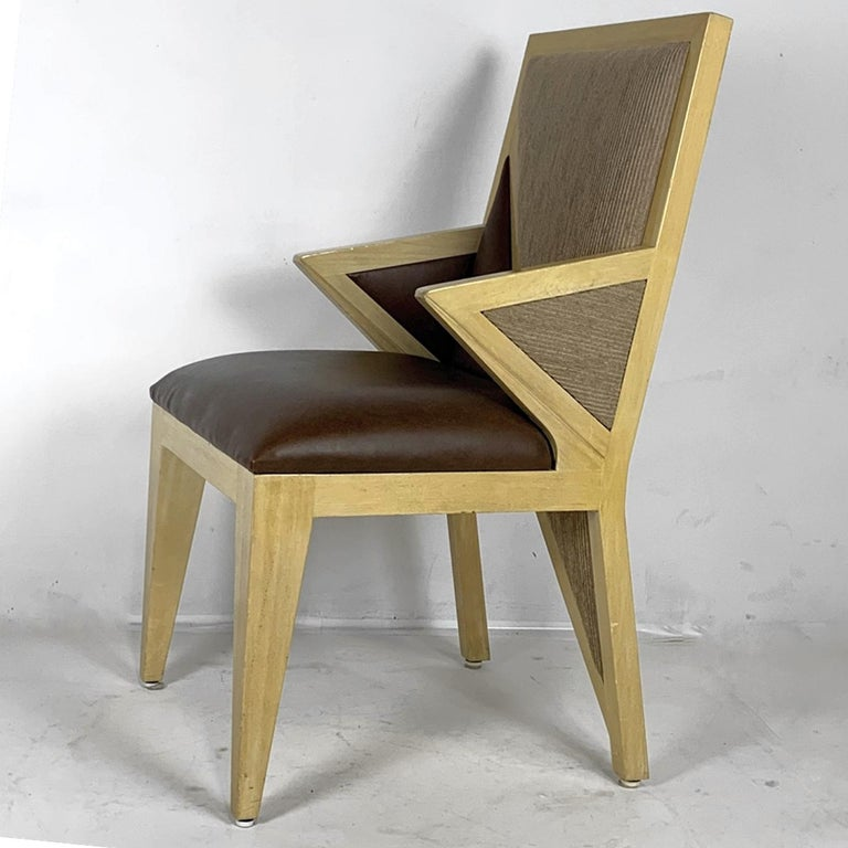 8 Solid Blonde Wood Custom Postmodern Memphis Style Dining or Occasional Chairs For Sale 8