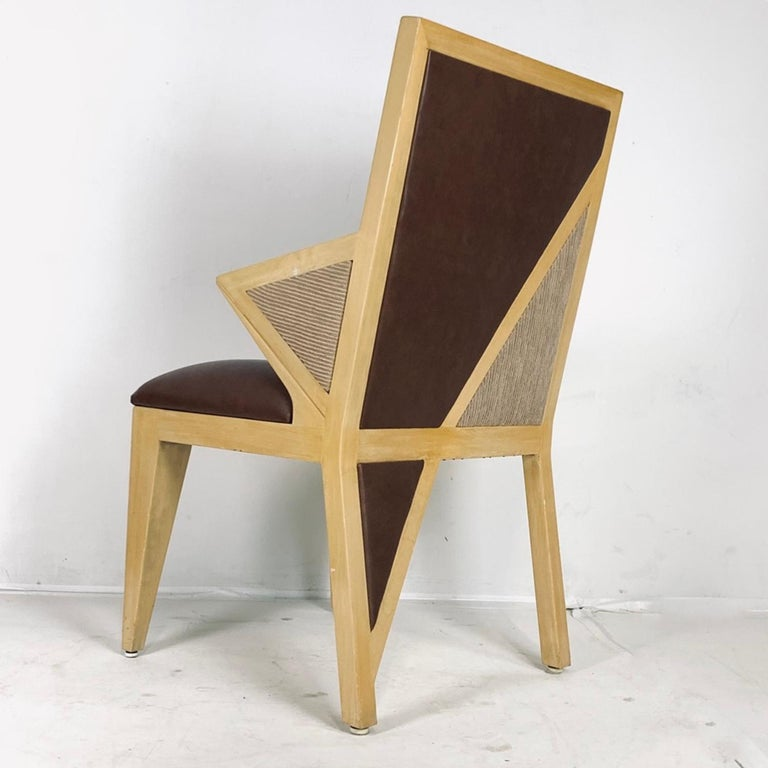 8 Solid Blonde Wood Custom Postmodern Memphis Style Dining or Occasional Chairs For Sale 9