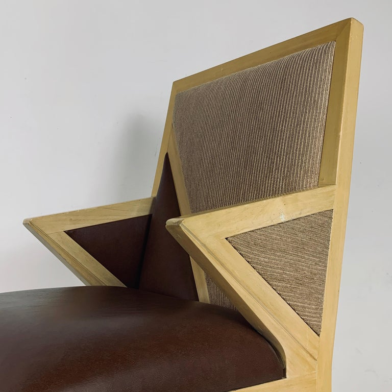 8 Solid Blonde Wood Custom Postmodern Memphis Style Dining or Occasional Chairs For Sale 10