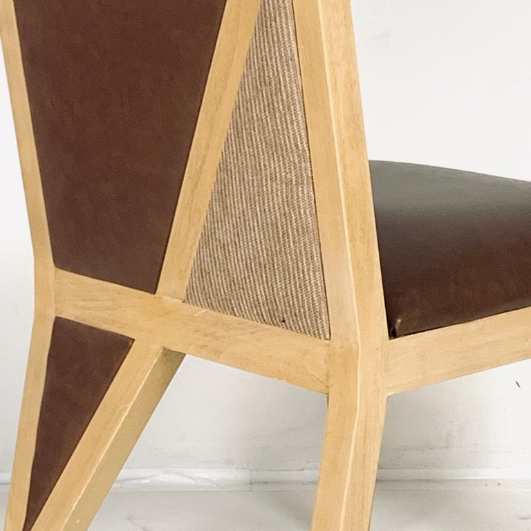 8 Solid Blonde Wood Custom Postmodern Memphis Style Dining or Occasional Chairs For Sale 2