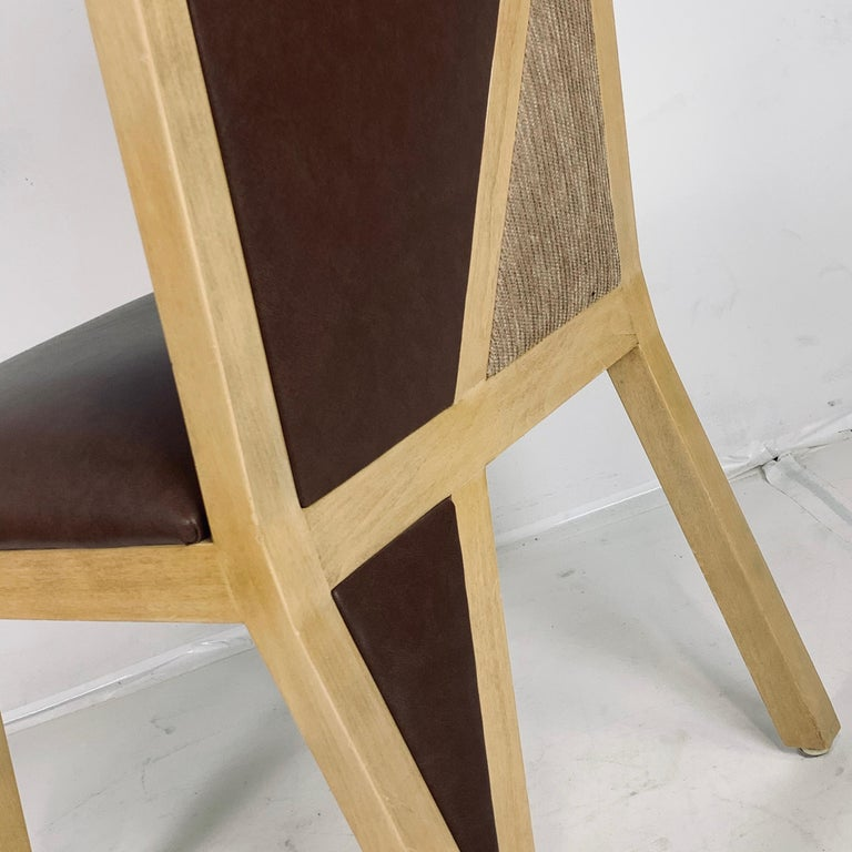 8 Solid Blonde Wood Custom Postmodern Memphis Style Dining or Occasional Chairs For Sale 3