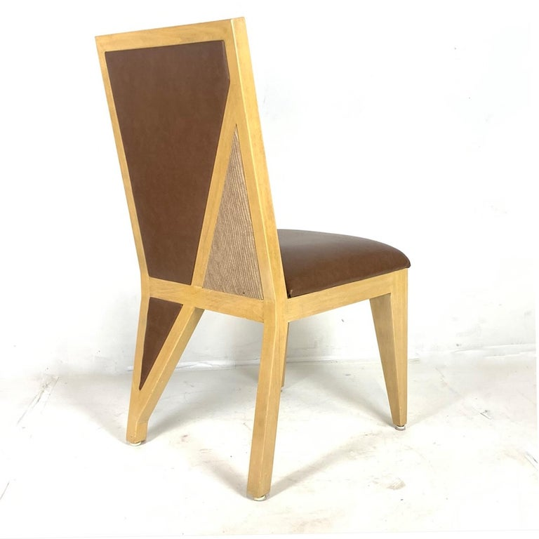 8 Solid Blonde Wood Custom Postmodern Memphis Style Dining or Occasional Chairs For Sale 4