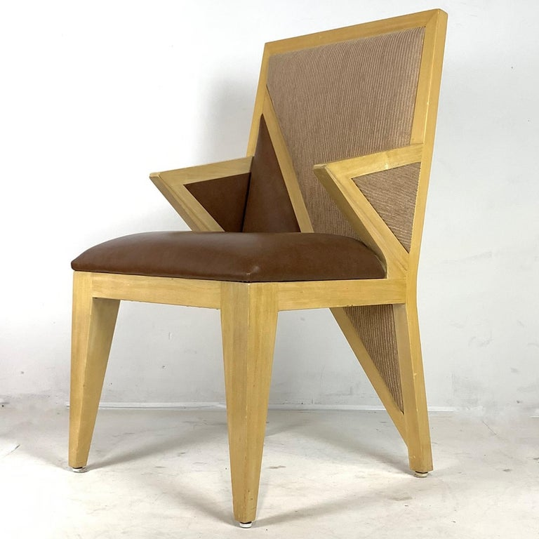 8 Solid Blonde Wood Custom Postmodern Memphis Style Dining or Occasional Chairs For Sale 5
