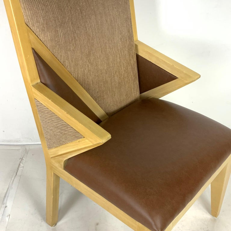 8 Solid Blonde Wood Custom Postmodern Memphis Style Dining or Occasional Chairs For Sale 6