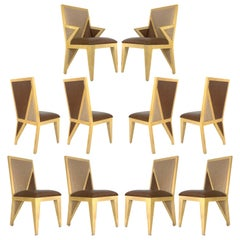 10 Solid Blonde Wood Custom Postmodern Memphis Style Dining or Occasional Chairs