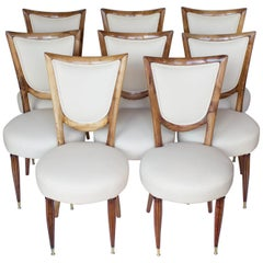 8 Solid Walnut Italian Art Deco Dining Chairs Upholstered in Cream Leather