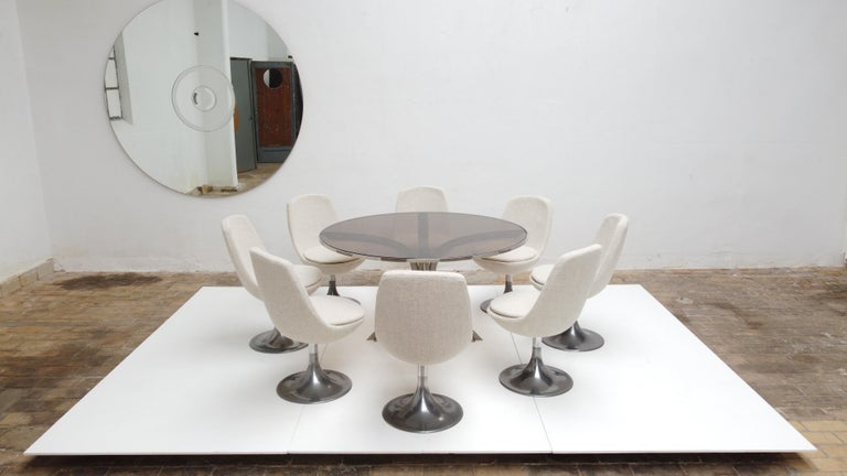 Late 20th Century 8 Space Age Swivel Dining Chairs, Cast Aluminum Tulips Base and New Upholstery For Sale