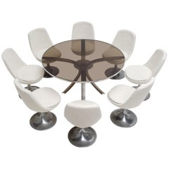 8 Space Age Swivel Dining Chairs, Cast Aluminum Tulips Base and New Upholstery