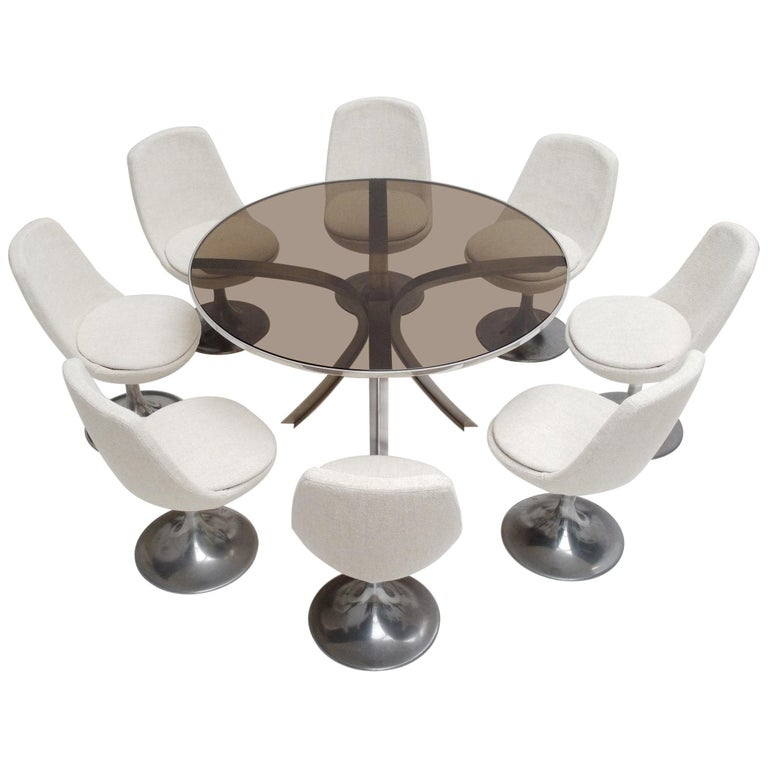 8 Space Age Swivel Dining Chairs, Cast Aluminum Tulips Base and New Upholstery For Sale