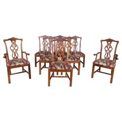 8 Stanley Furniture Traditional Cherry Chippendale Dining Side Arm Chairs Vtg
