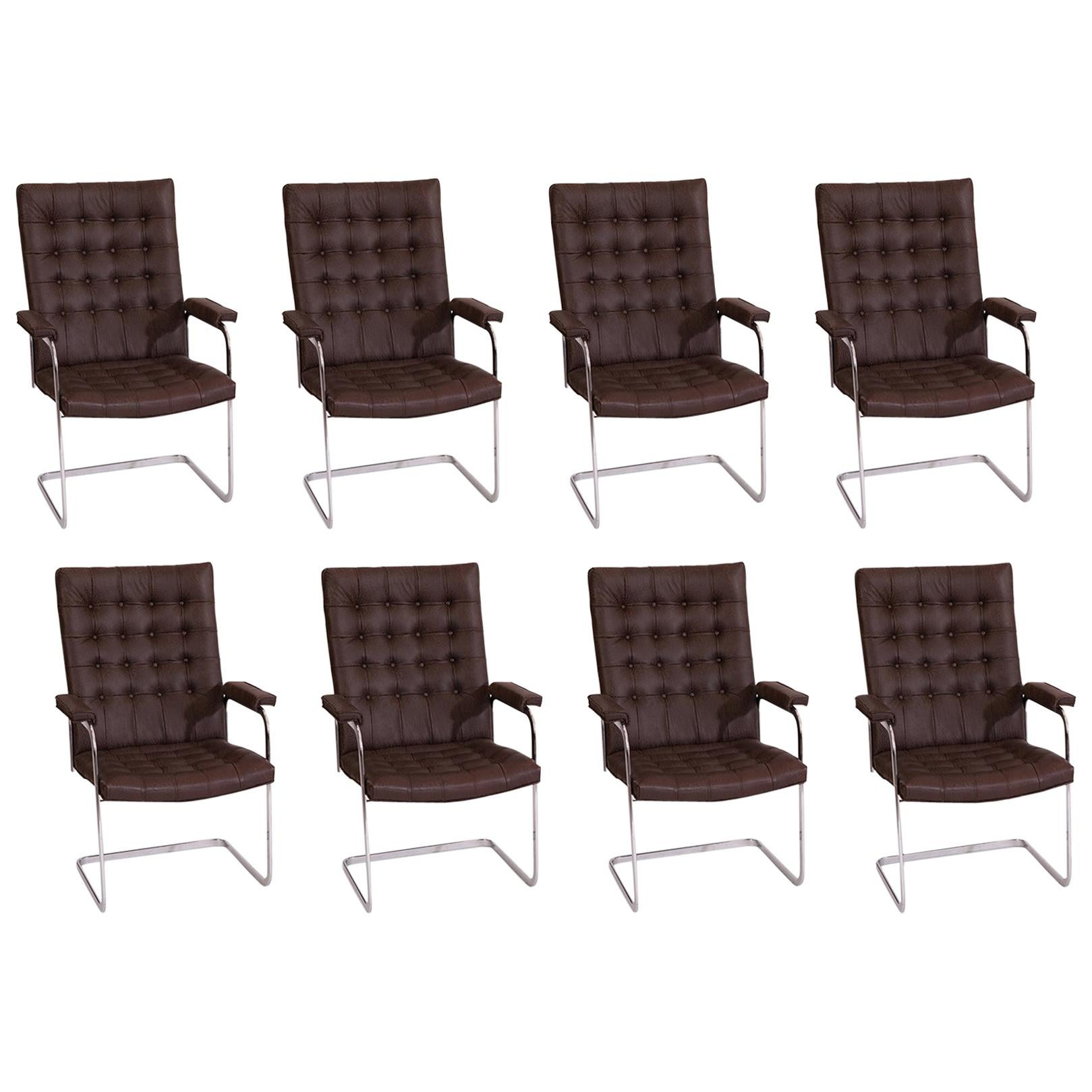 8 Stendig Leather and Steel Cantilevered Dining Chairs