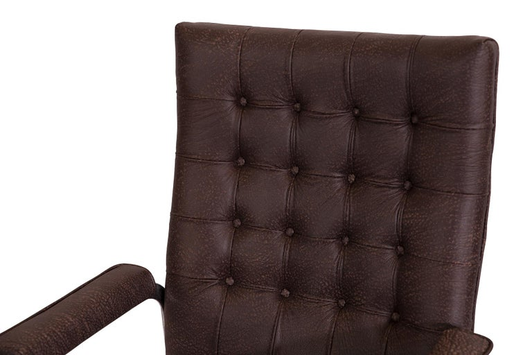 Italian 8 Stendig Leather and Steel Cantilevered Dining Chairs For Sale