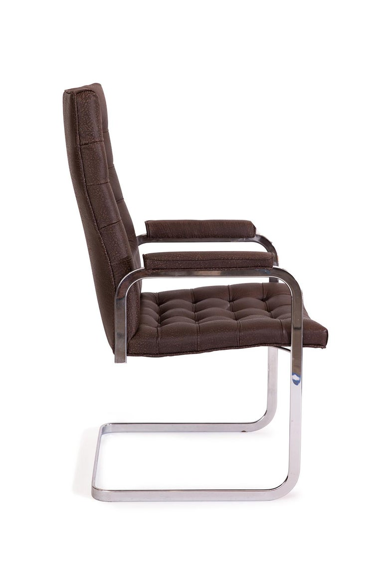 Late 20th Century 8 Stendig Leather and Steel Cantilevered Dining Chairs For Sale