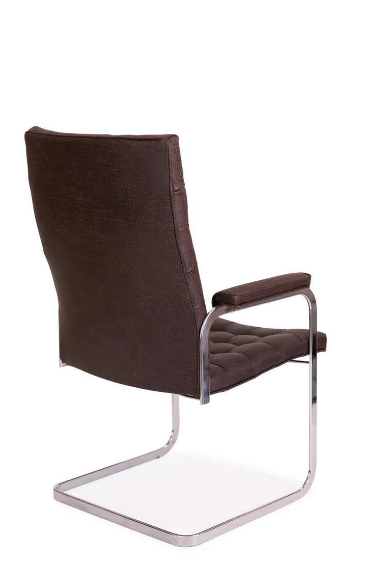 8 Stendig Leather and Steel Cantilevered Dining Chairs For Sale 1