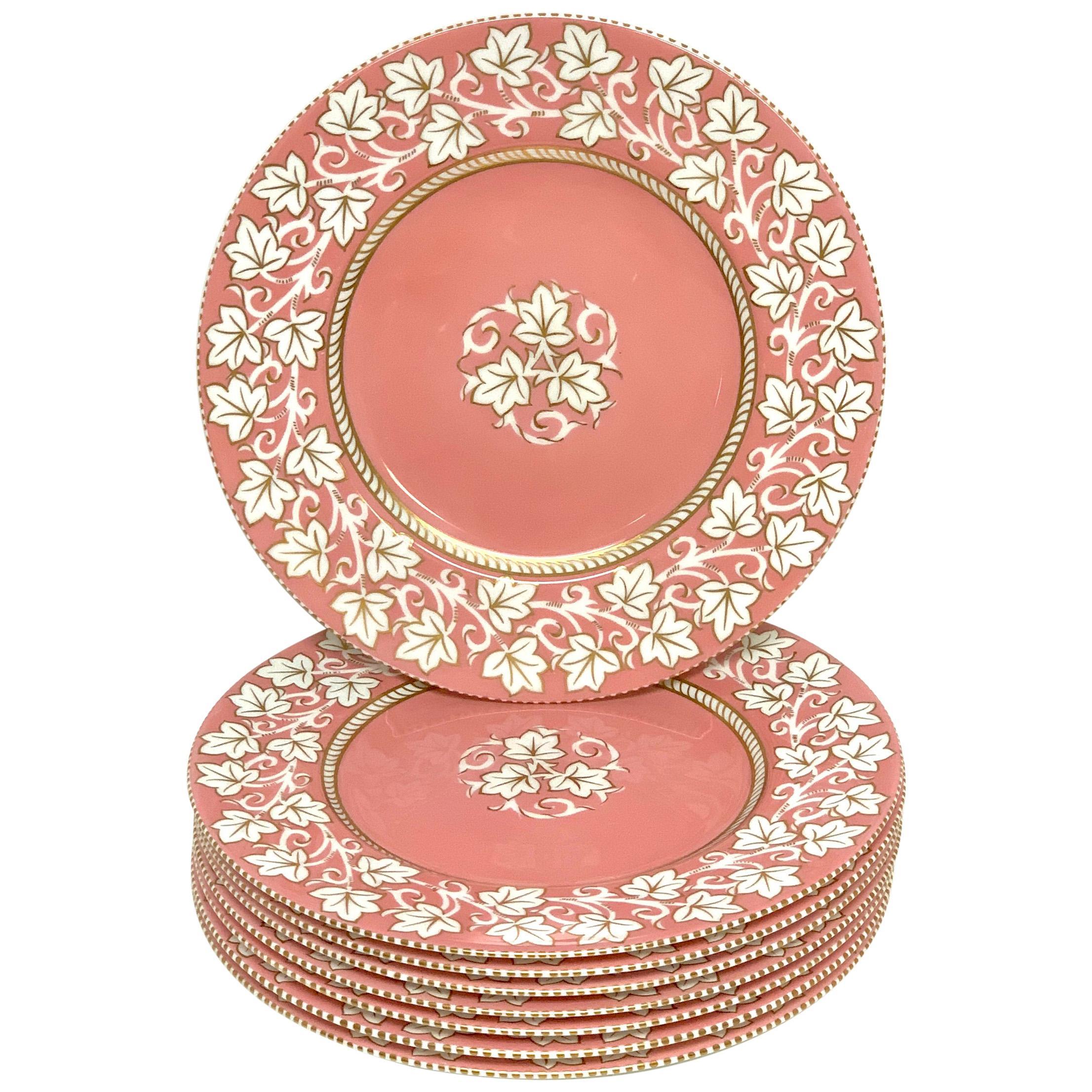 8 Stunning Hollywood Regency Wedgwood Pink Lustre Service Plates