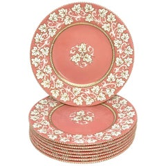 8 Stunning Hollywood Regency Wedgwood Pink Lustre Service Plates