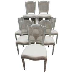 8 Swedish Gustavian Cane Back Chairs
