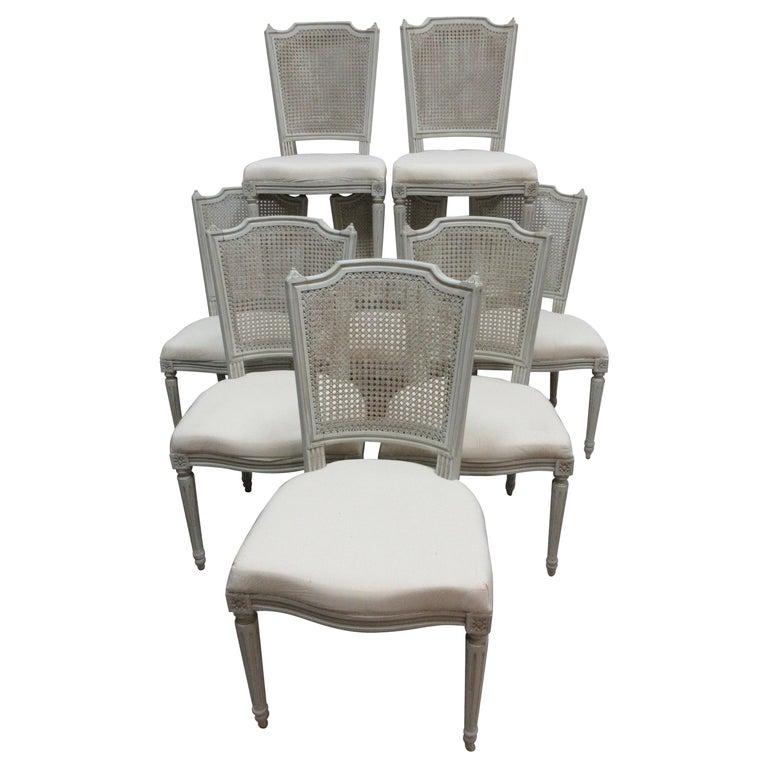 8 Swedish Gustavian Cane Back Chairs