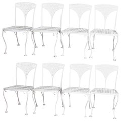 8 Victorian Style Wrought Iron Foliate Form White Painted Patio Chairs