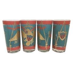 8 Vintage Cera Glassware Highball Glasses, Regimental Drum
