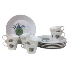 8 Vintage Georges Briard Snack Sets in the Fancy Free Hot Air Balloon Pattern