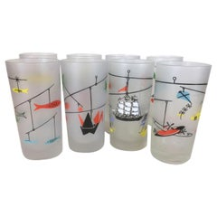 8 Vintage Libbey, Mobile Highball Glasses, 2 Each, Boats, Planes, Fish, Origami