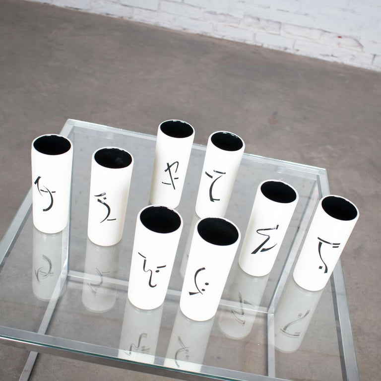 8 Vintage Mid-Century Modern Ceramic Tumblers White and Black with Asian Symbols For Sale 4