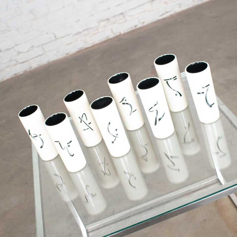 Chinoiserie 8 Vintage Mid-Century Modern Ceramic Tumblers White and Black with Asian Symbols For Sale