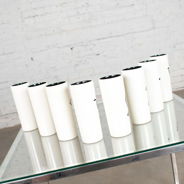 8 Vintage Mid-Century Modern Ceramic Tumblers White and Black with Asian Symbols In Good Condition For Sale In Topeka, KS