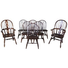 8 Vintage Pennsylvania House English Windsor Brace Back Oak Dining Chairs