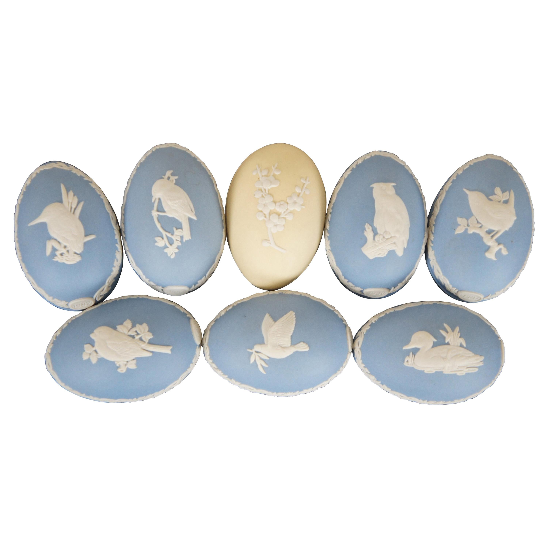 8 Vintage Wedgwood Jasperware Ceramic Anniversary Eggs Trinket Keepsake Box