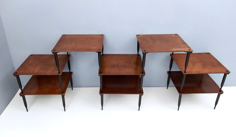 Italian Eight Walnut Coffee Tables Model