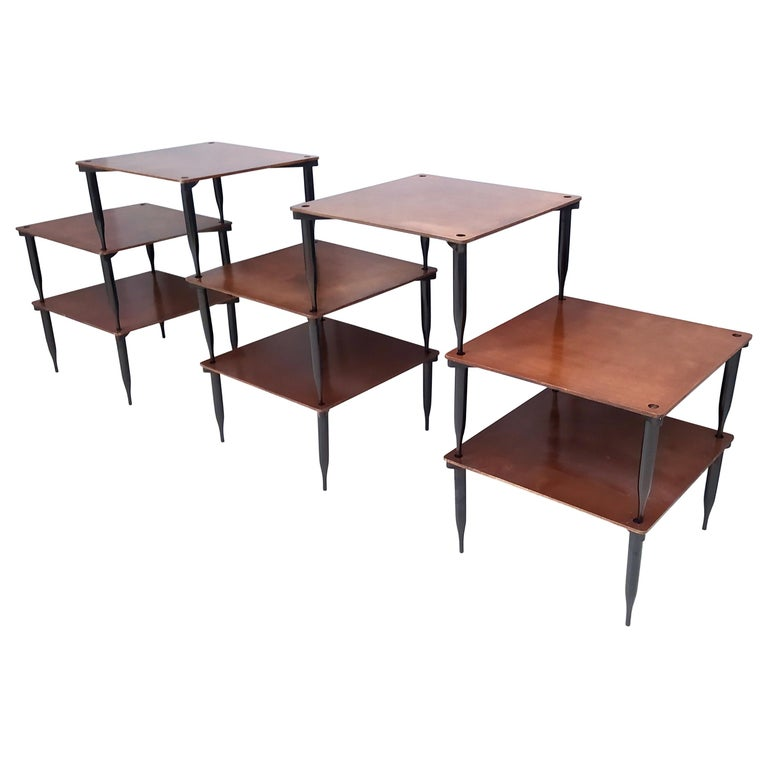 """Eight Walnut Coffee Tables Model """"T8"""" by Vico Magistretti for Azucena, Italy For Sale"""
