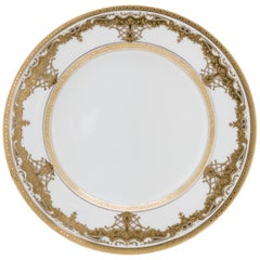 8 White and Gold Gilt Encrusted Dessert Plates, Antique English, Minton
