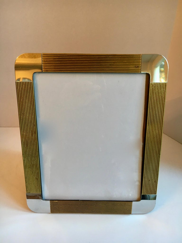 Modern Brass and Chrome Picture Frame For Sale