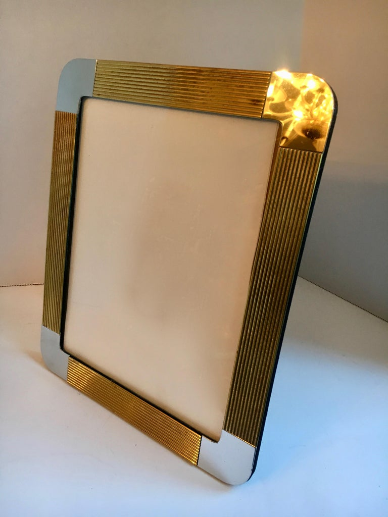Brass and Chrome Picture Frame In Good Condition For Sale In Los Angeles, CA
