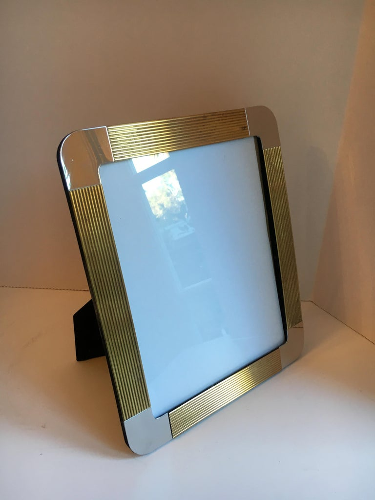 Brass and Chrome Picture Frame For Sale 1