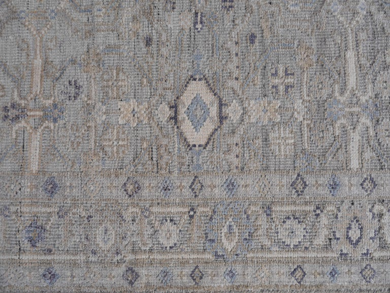 Modern Oushak Durva Rug Hand Knotted Wool Pile and Bamboo Silk For Sale 5