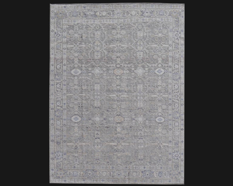 Modern Oushak Durva Rug Hand Knotted Wool Pile and Bamboo Silk For Sale 9