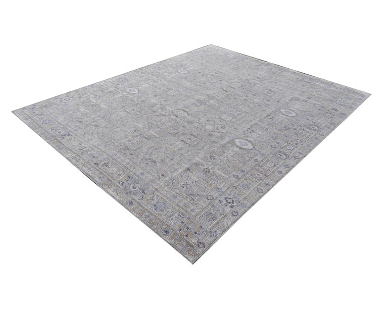 Hand-Knotted Modern Oushak Durva Rug Hand Knotted Wool Pile and Bamboo Silk For Sale