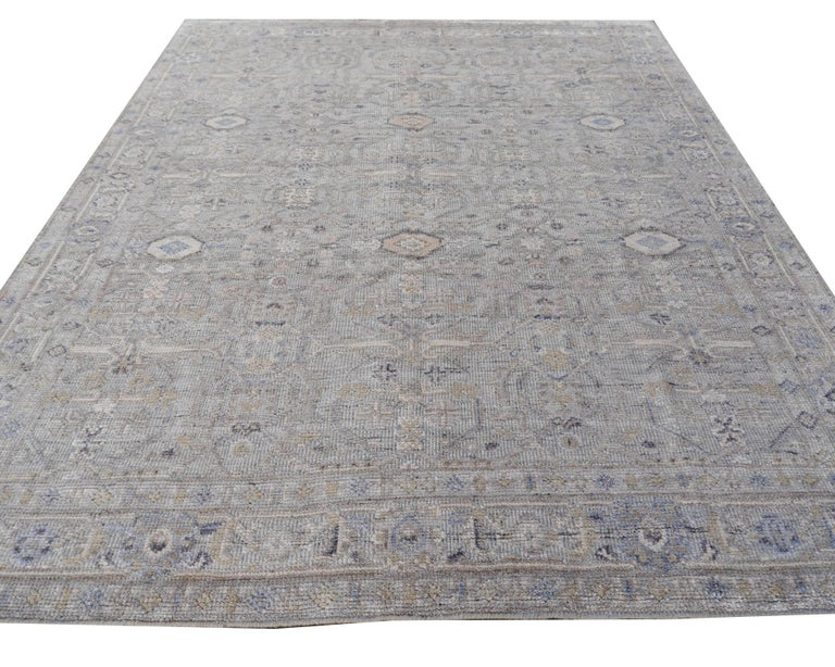 Modern Oushak Durva Rug Hand Knotted Wool Pile and Bamboo Silk In New Condition For Sale In Lohr, Bavaria, DE
