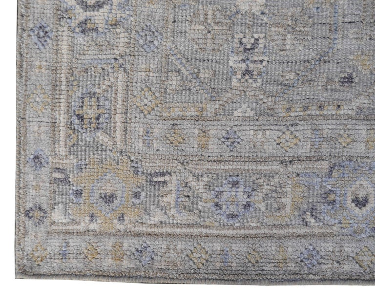 Contemporary Modern Oushak Durva Rug Hand Knotted Wool Pile and Bamboo Silk For Sale