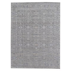Modern Oushak Grey Rug Hand Knotted Wool Pile and Bamboo Silk Heriz Karaja style