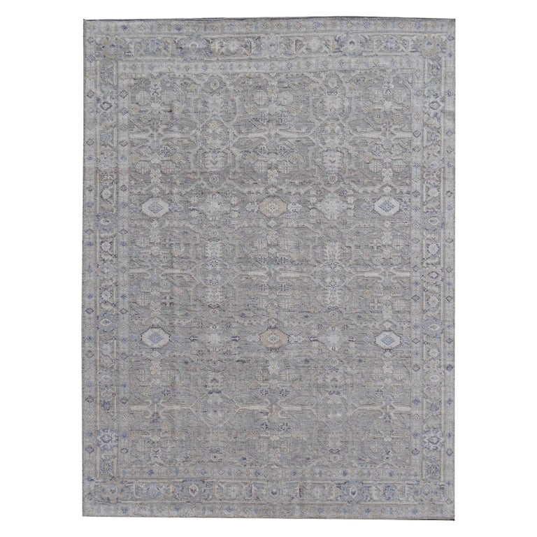 Modern Oushak Durva Rug Hand Knotted Wool Pile and Bamboo Silk For Sale
