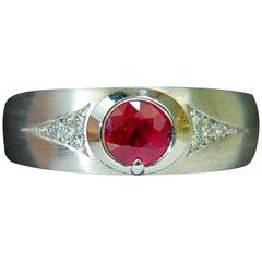 .80 Carat 14 Karat Natural Fine Gem Ruby Diamond Ring Rustic Deco Prime