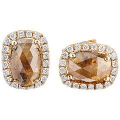 .80 Carat Brown Yellow Diamond Halo Gold Stud Earrings